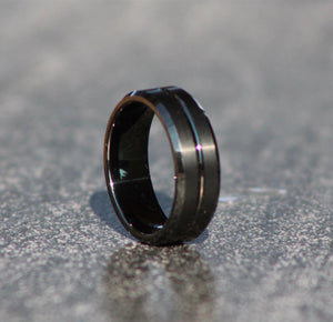 BLACK CUSTOM CUT MAN RING - Tungsten Carbide - FREE ENGRAVING