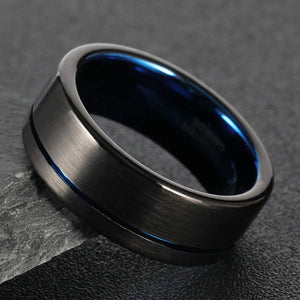 Brushed Black w/ Polished Blue Groove & Liner - Tungsten Carbide Ring