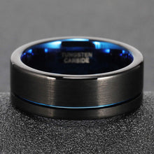 Load image into Gallery viewer, BLACK & CHROME BLUE MAN RING - Tungsten Carbide - FREE ENGRAVING