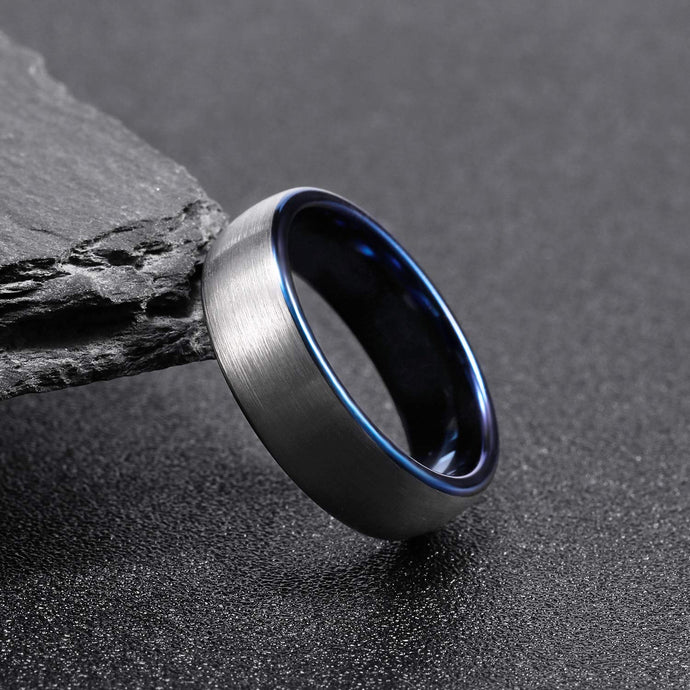 Brushed Silver w/ Polished Blue - Tungsten Carbide Ring