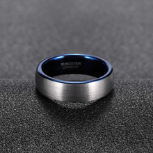 Load image into Gallery viewer, Brushed Silver w/ Polished Blue - Tungsten Carbide Ring