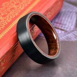 BRUSHED BLACK & WHISKEY BARREL - Tungsten Carbide Ring - FREE ENGRAVING