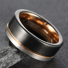 Load image into Gallery viewer, Brushed Black & Silver w/ Gold Inlay & Liner - Tungsten Carbide Ring