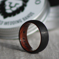 Men's Ring - Black Carbon Fiber & Whiskey Barrel - Interior Engraving Available