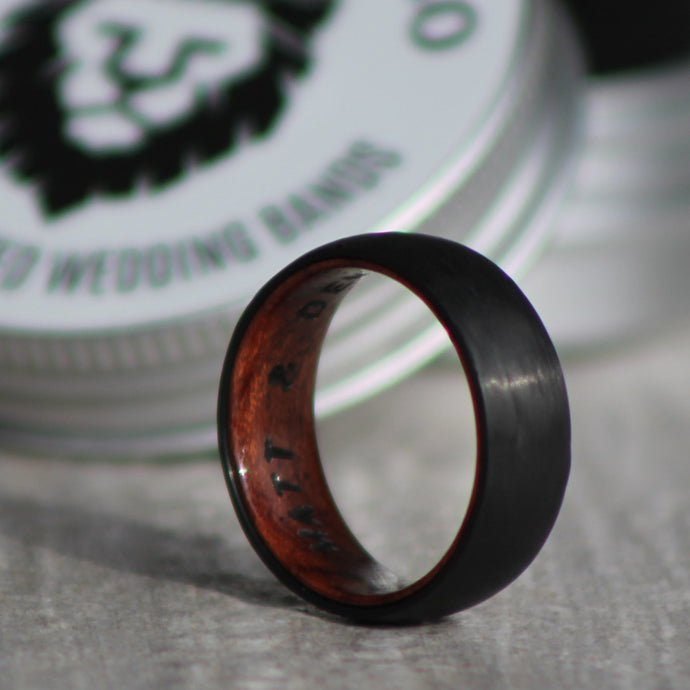 CARBON FIBER + WHISKEY BARREL - Domed Ring - FREE INTERIOR ENGRAVING