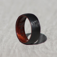 Load image into Gallery viewer, CARBON FIBER + WHISKEY BARREL - Domed Ring - FREE INTERIOR ENGRAVING