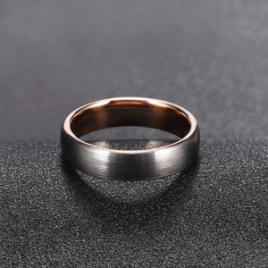 Brushed Silver & Polished Rose Gold - Tungsten Carbide Ring