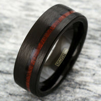 Men's Ring - Black Tungsten Carbide & Whiskey Barrel - Interior Engraving Available
