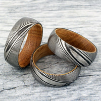 Men's Ring - Silver Tungsten Carbide Damascus & Whiskey Barrel - Free Engraving Available