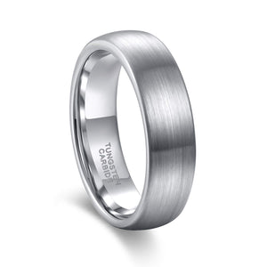 Brushed Silver on Polished Silver - Tungsten Carbide Ring