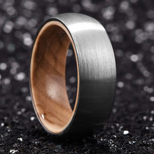 Load image into Gallery viewer, Man Ring Silver Gunmetal Whiskey Barrel Wedding Band