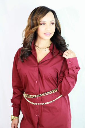 Every Kind of Way Dress & Shirt- Burgundy