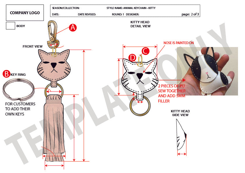 Animal Keychain - Kitty - Basic