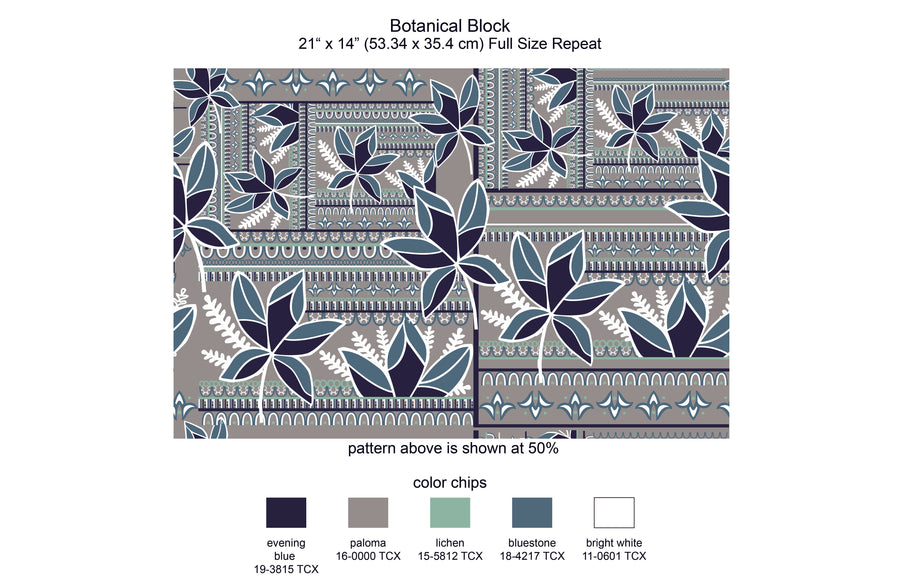 Botanical Block Repeat Print