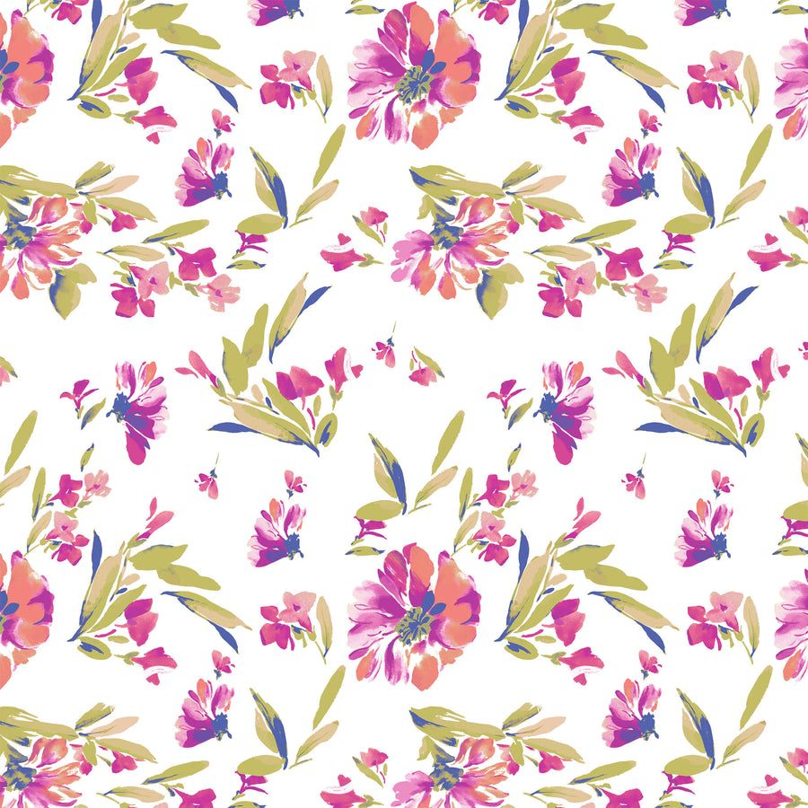Delicate Flowers & Sprigs Repeat Print