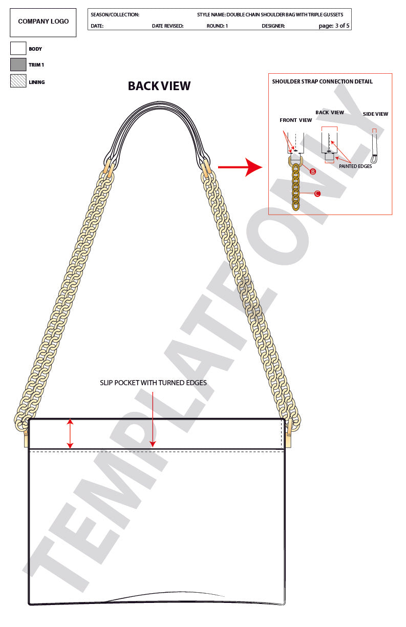 Double Chain Shoulderbag W/ Triple Gussets - Advanced