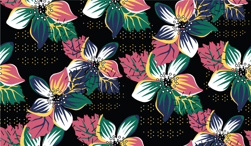 Hibiscus Disco Repeat Print
