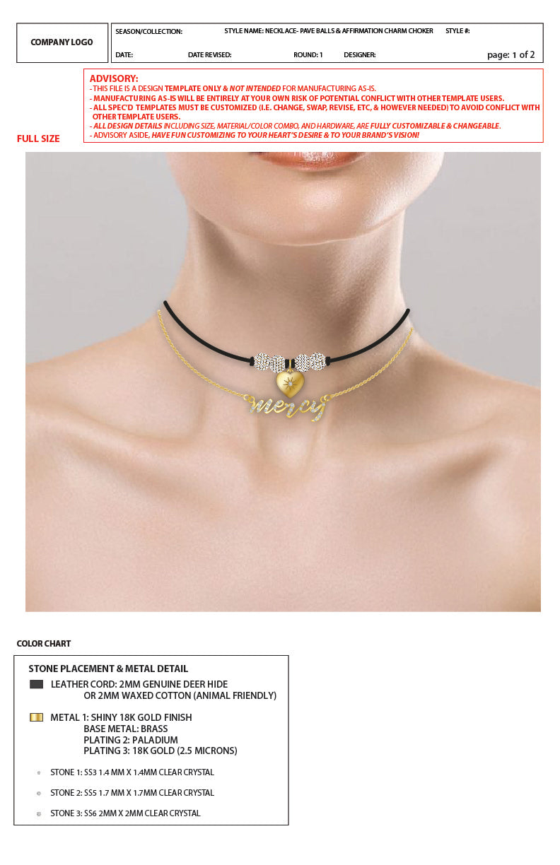 Dual Pavé Ball Necklace/Choker & Bracelet set On Leather Cord - 2D Advanced