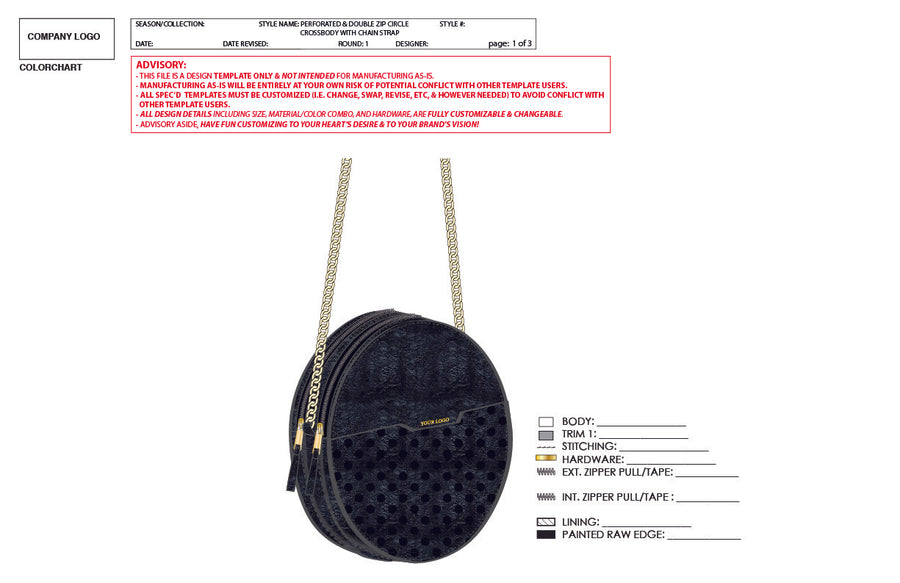 Perforated & Double Zip Circle Crossbody W/ Chain Strap- Advanced