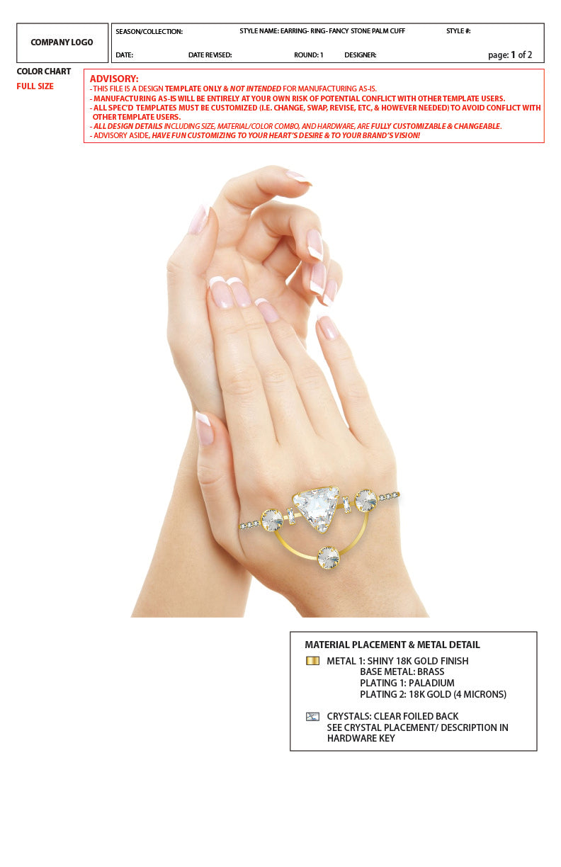 Fancy Stone Palm Cuff Ring - 2D Advanced