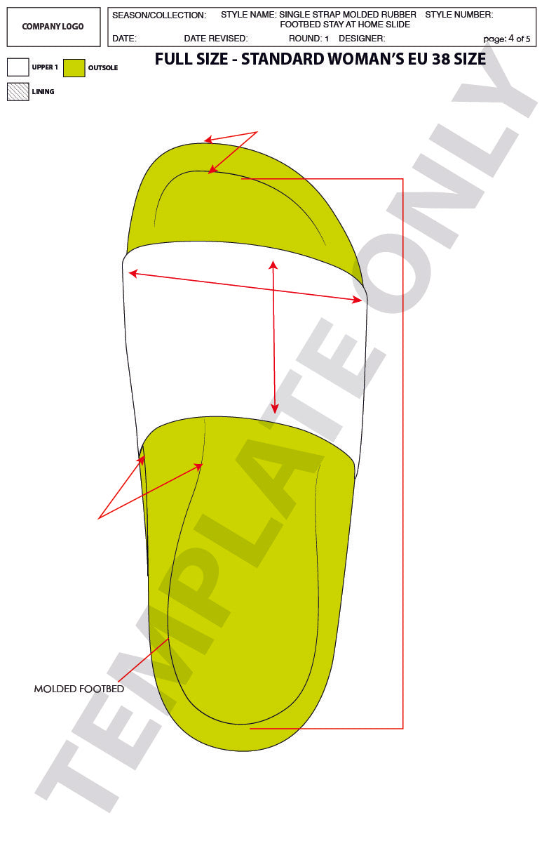 Single Strap Molded Rubber Footbed Stay At Home Slide - Basic