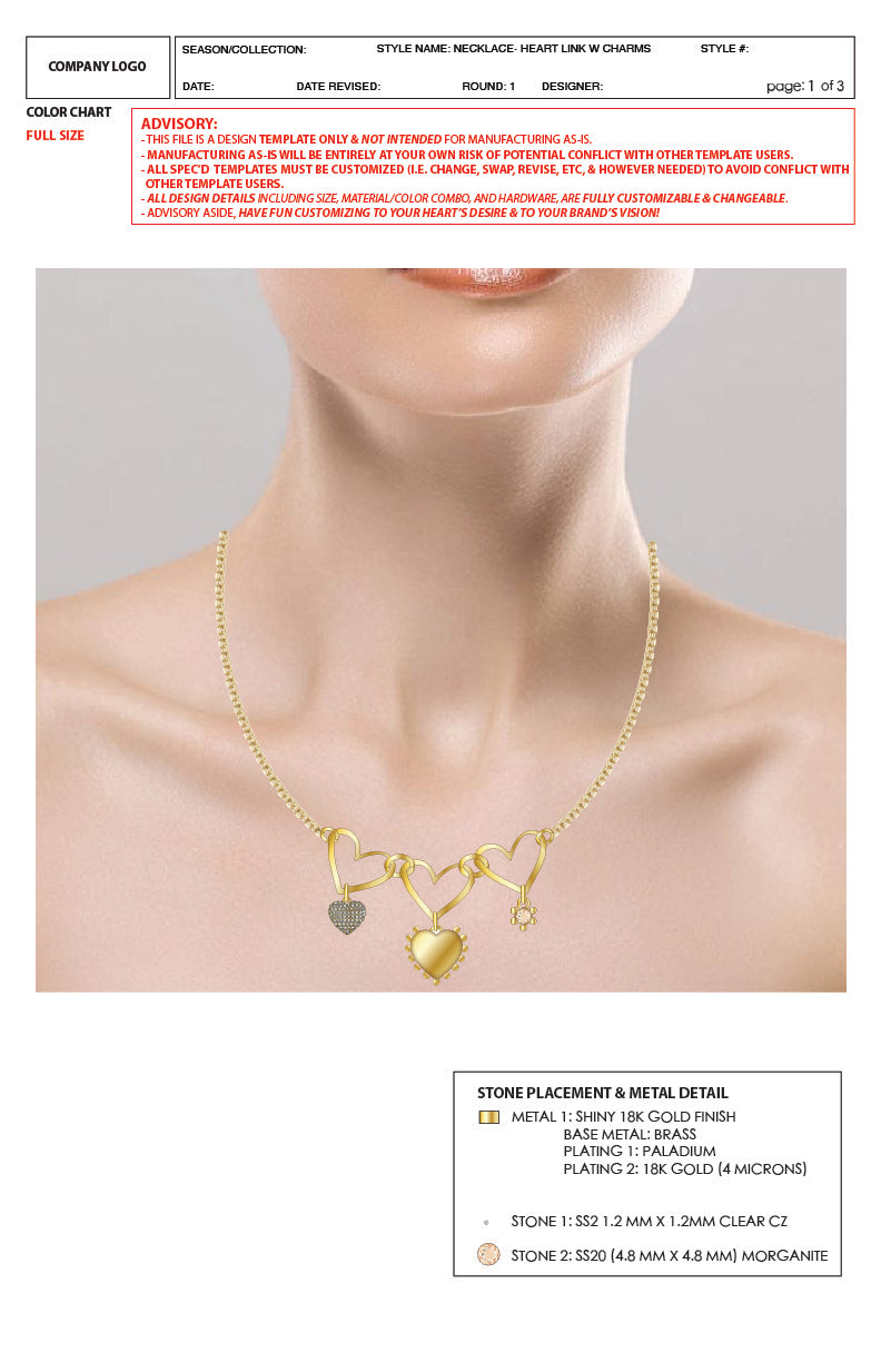 Trinity Heart Link Necklace - 2D Advanced