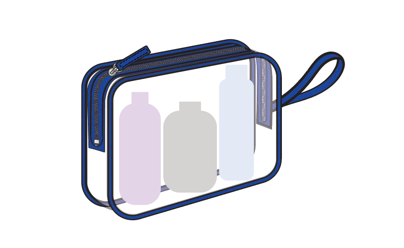 TSA Approved Clear Travel Cosmetic Pouch W/ Wristlet - Basic