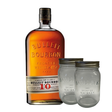 Bulleit 10 Years Old Bourbon Whiskey 70cl + 2 Bulleit Glass in Vetro