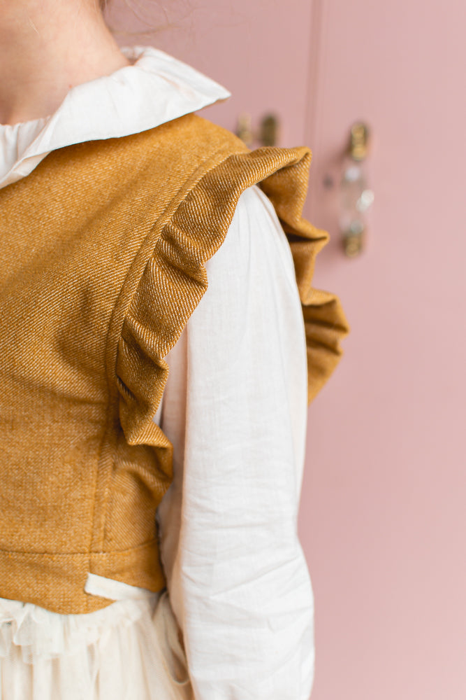 Mila Tailored Vest Mustard