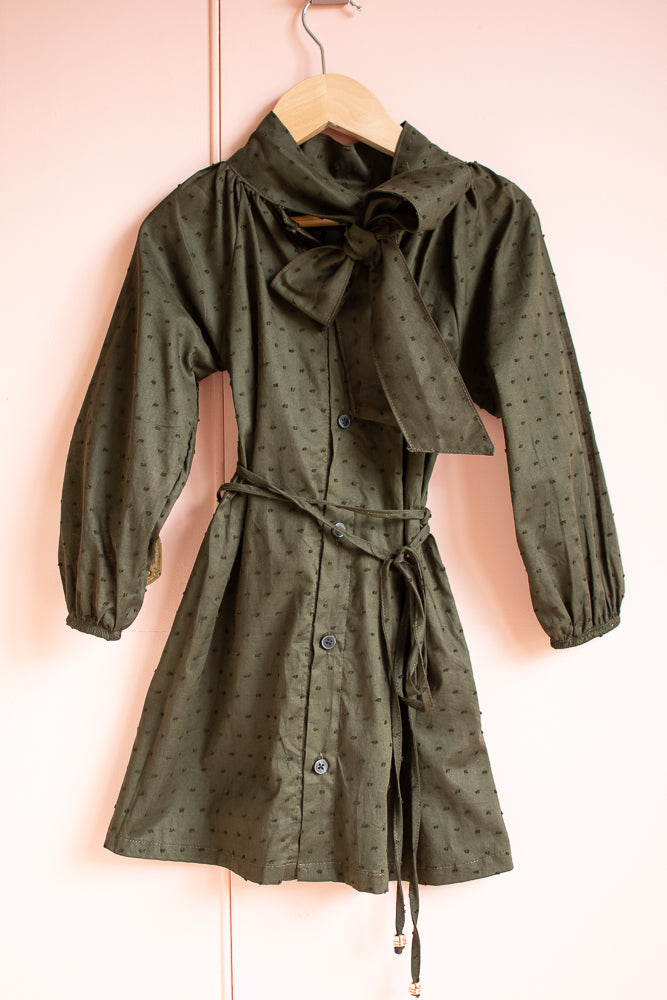 Tori Tie Neck Dress Deep Green