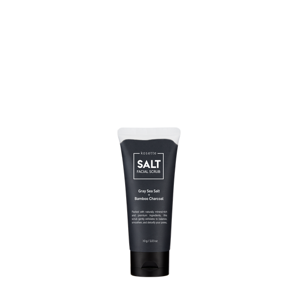 Kosette SALT Facial Scrub is Featuring Gray Sea Salt and Bamboo Charcoal, this facial scrub is packed with naturally mineral-rich and premium ingredients that gently exfoliates to balance, detoxify, and refine your pores.