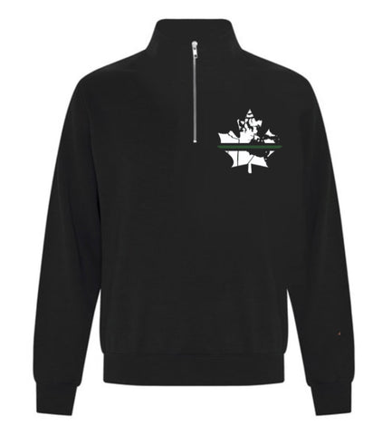 Thin Green Line -1/4 Zip Sweater