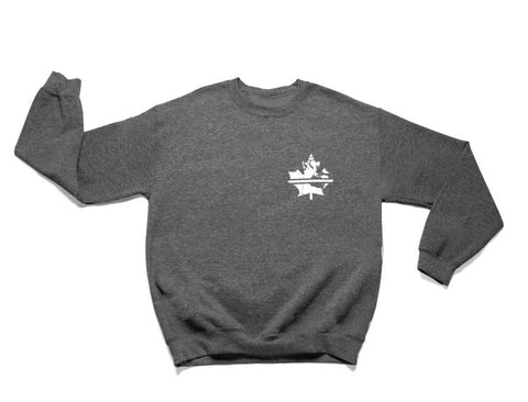 Thin White Line Crew Sweater - Dark Heather