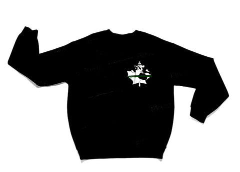 Thin Green Line Crew Sweater - Black
