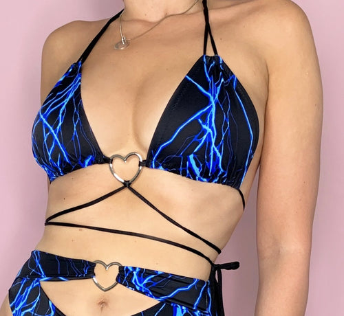 Lightning Bolt PRINCESS Bra Top With Metal Heart Detail