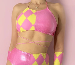 Harlequin halter neck crop top