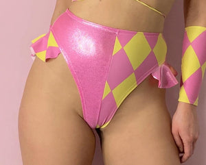 Harlequin high waisted high leg frill bottoms
