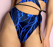 Load image into Gallery viewer, Lightning bolt High Waisted High Leg Rave Bottoms