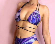 Load image into Gallery viewer, Purple Marble bikini top