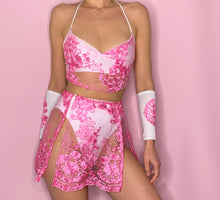 Load image into Gallery viewer, Pink Lace FULL OUTFIT Top, bottoms, skirt + arm sleeves