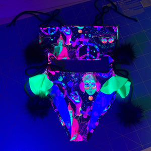 UV Escape Rave Bodysuit With Frills *print placement will vary for each piece