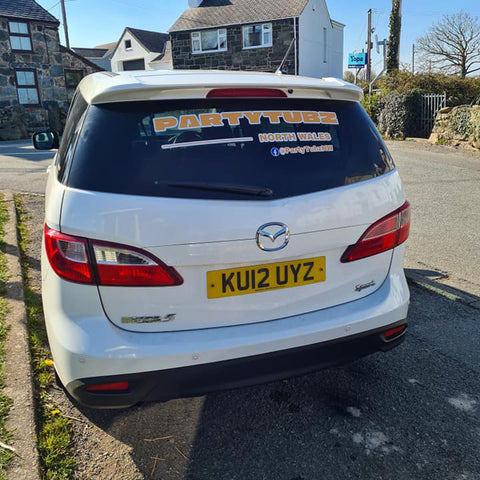 Car with printed stickers
