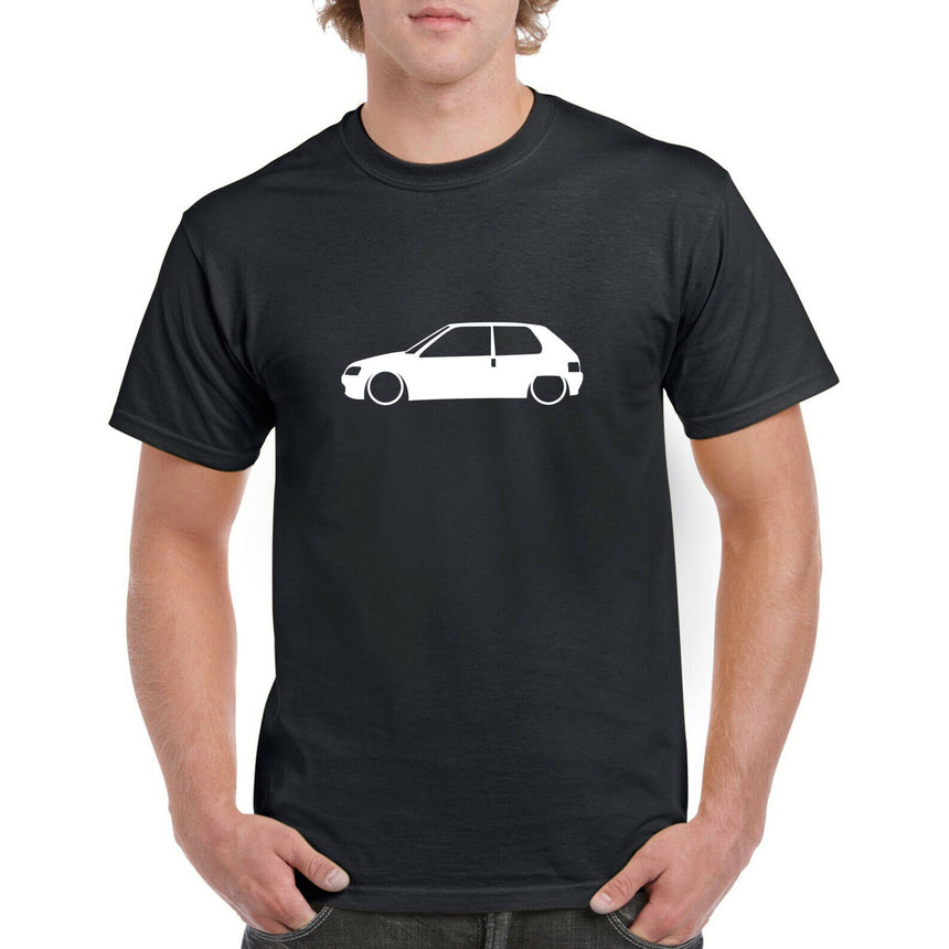 Peugeot 106 3 Door Outline Silhouette Logo 100% Cotton Crew Neck T-shirt (51 colour choices)