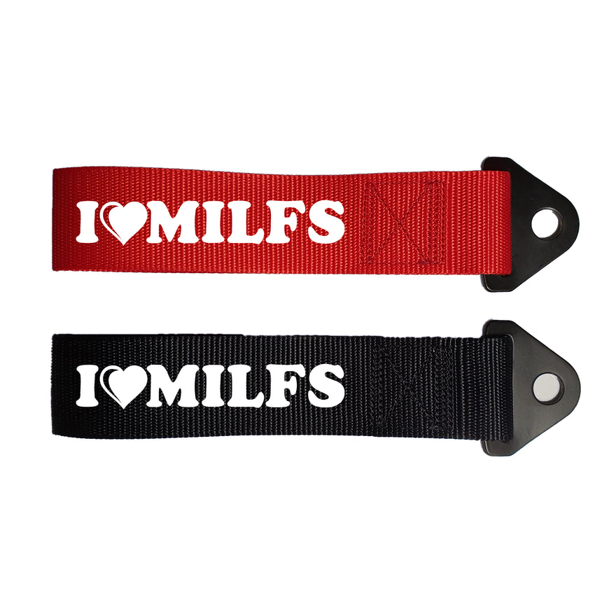 I Love Milfs Logo Universal Car Tow Strap & Fixing Bolt