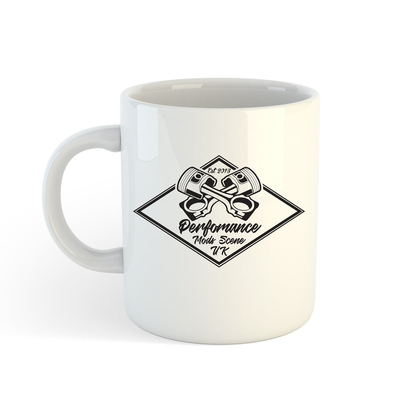 Perfomance Mods Scene UK Crossed Pistons Logo 11oz (300ml) Tea Coffee Mug Cup