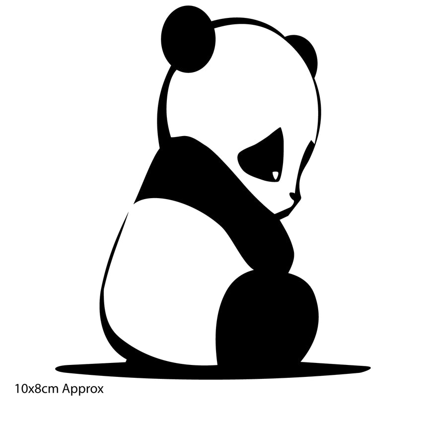 Sad Panda 10x8cm Vinyl Sticker (Choice Of Colours)