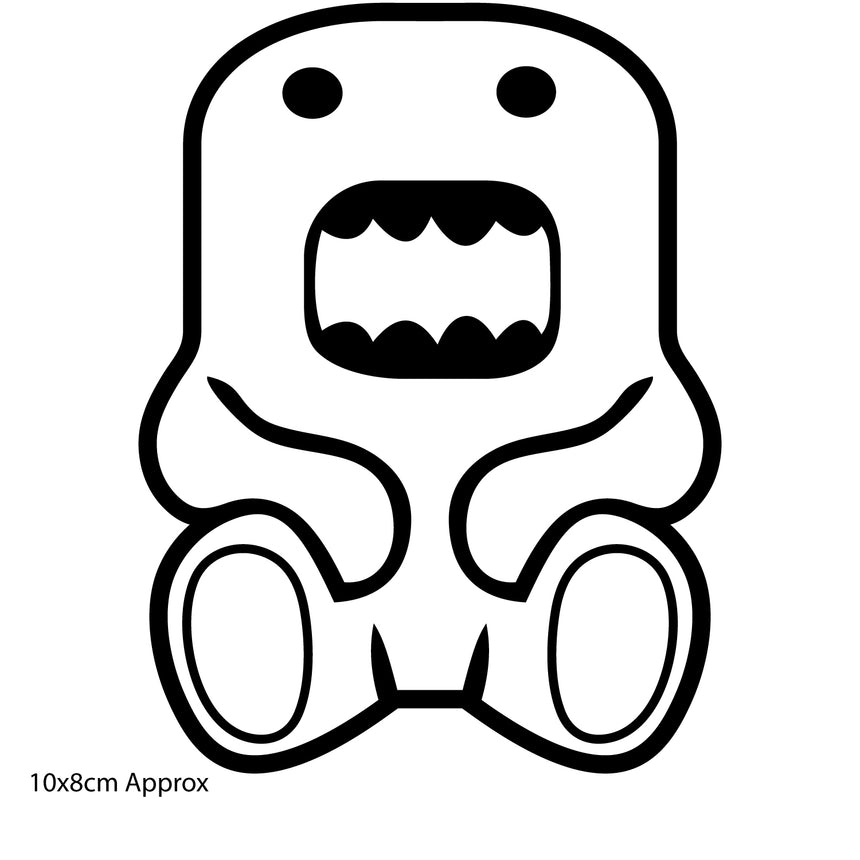 Sitting Domo Domokun 10x8cm Vinyl Sticker (Choice Of Colours)