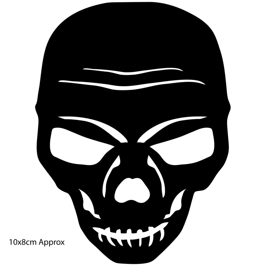 Skull 10x8cm Vinyl Sticker (Choice Of Colours)