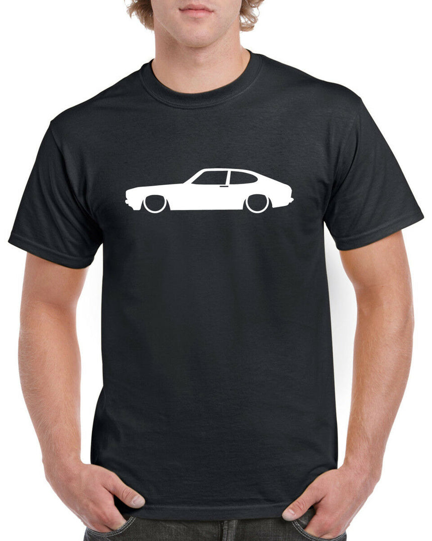 Ford Capri MK2 Outline Silhouette Logo 100% Cotton Crew Neck T-shirt (51 colour choices)
