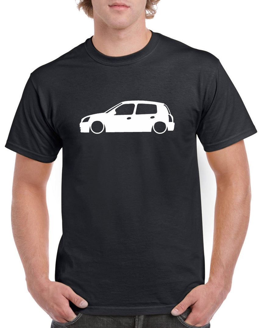 Renault Clio 4 Door Outline Silhouette Logo 100% Cotton Crew Neck T-shirt (51 colour choices)